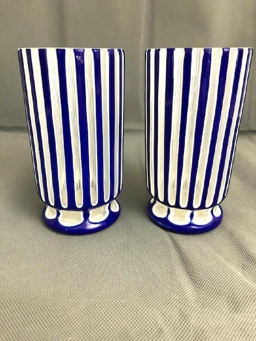 Pair Of Blue Bohemian Beakers