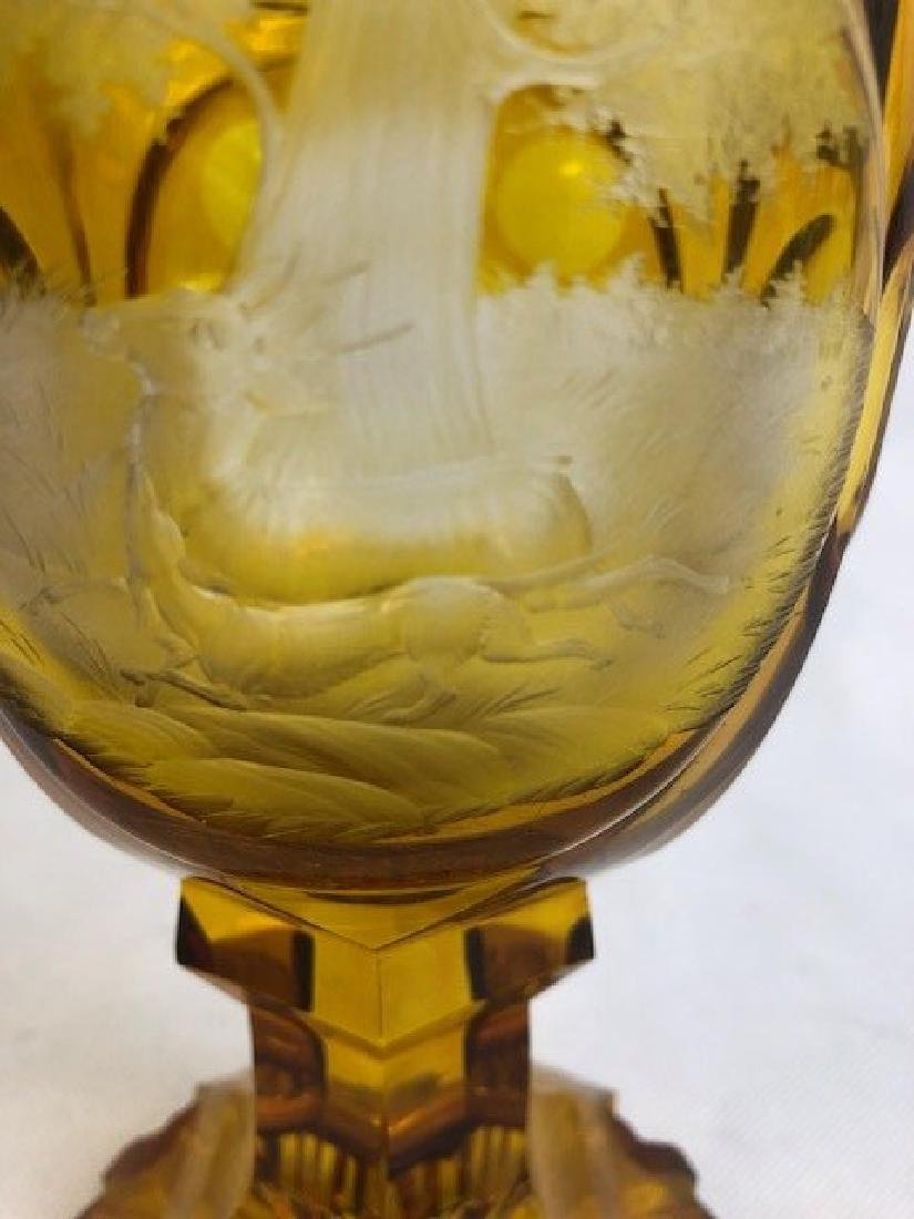Nicely Engraved Bohemian Amber Goblet - 2