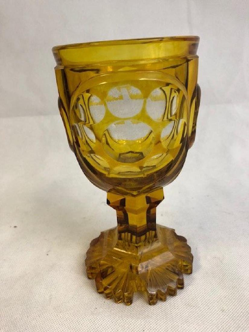 Nicely Engraved Bohemian Amber Goblet - 3