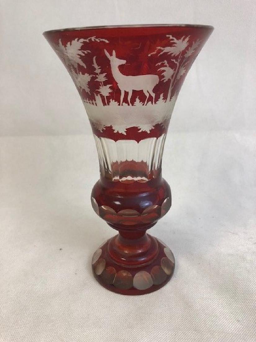 Bohemian Engraved  Vase