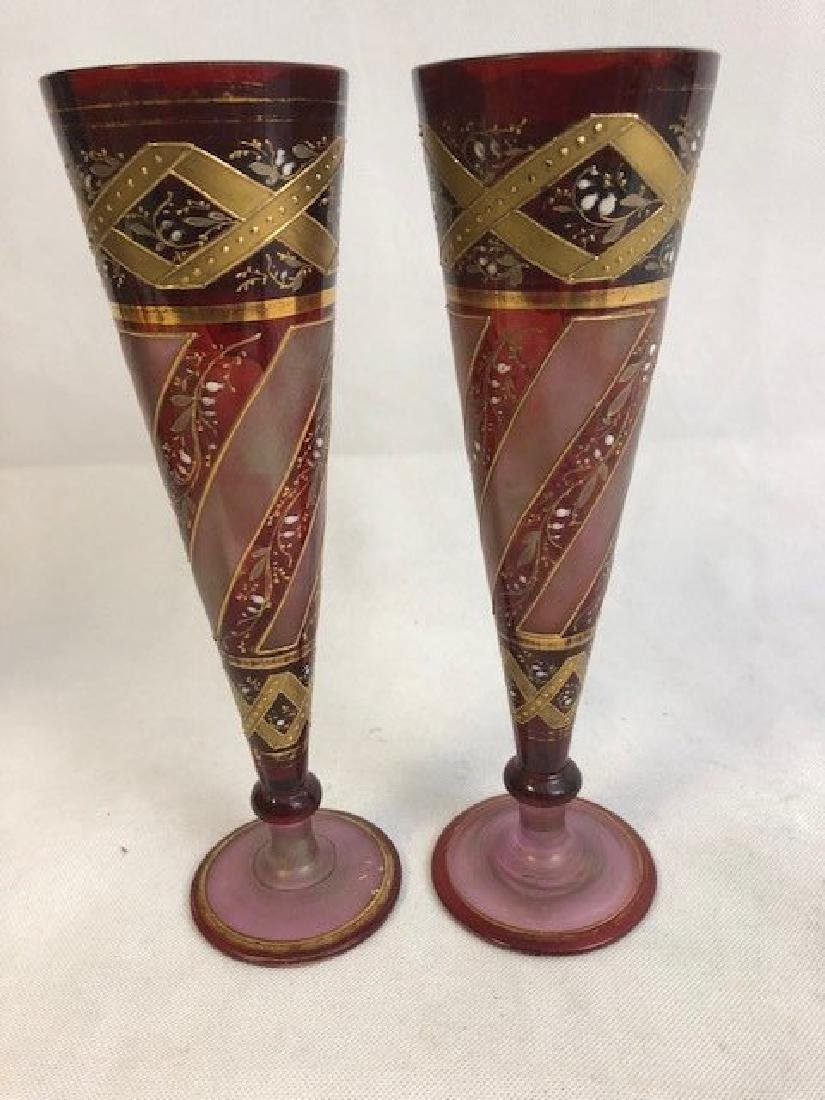 Pair Of Nicely Shaped Bohemian Vase Gold Gilding