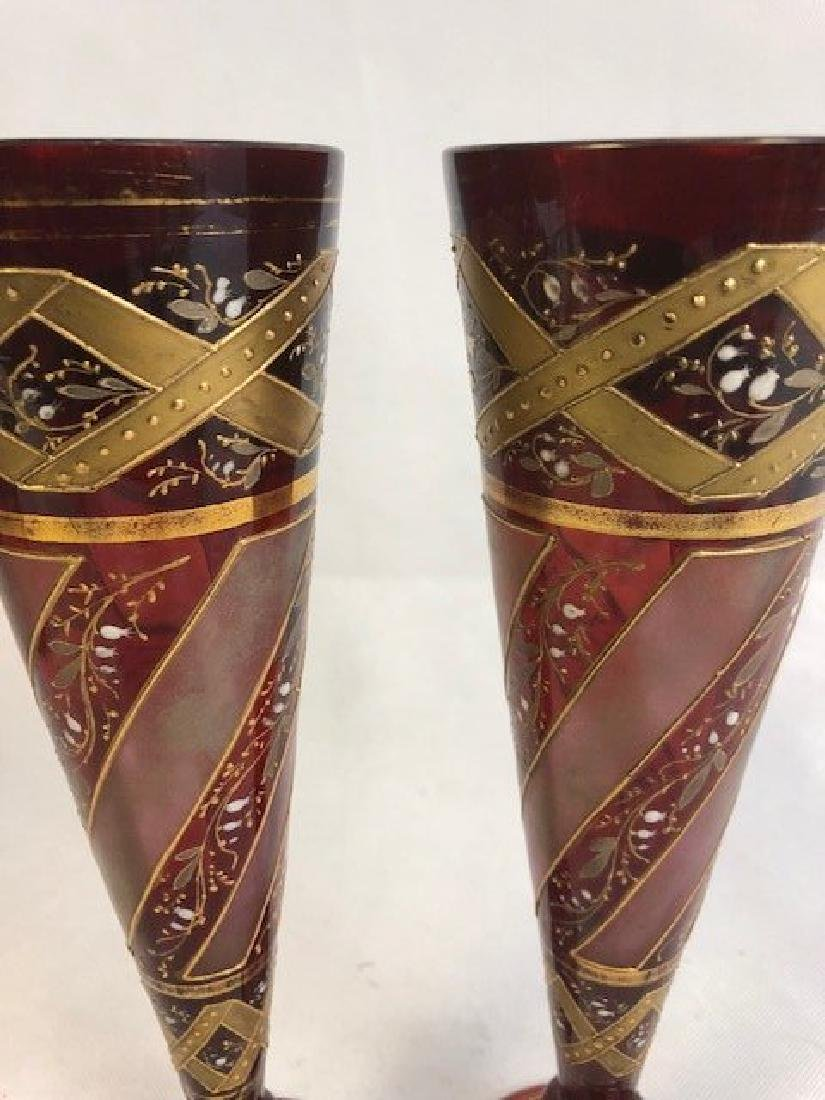 Pair Of Nicely Shaped Bohemian Vase Gold Gilding - 2