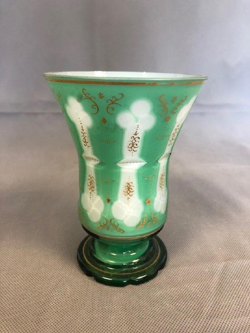 Bohemian green beaker overlay