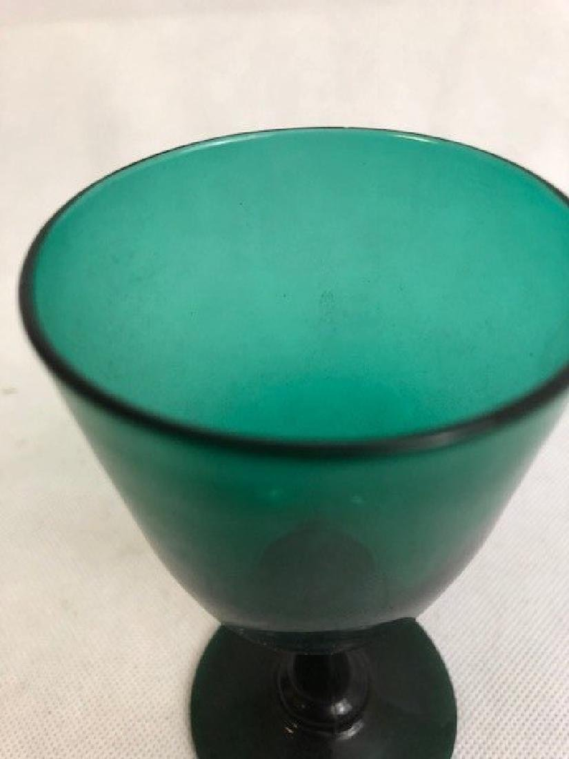 Green Glass Goblet - 2