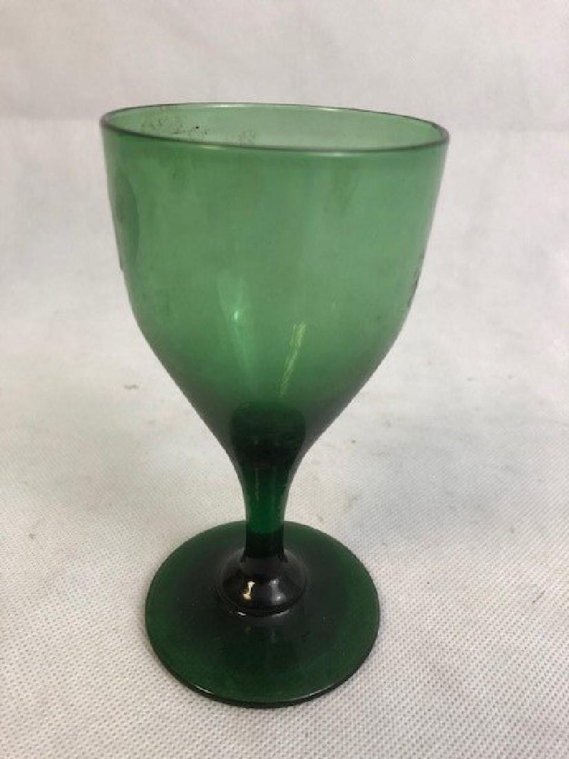 Green Glass Globlet