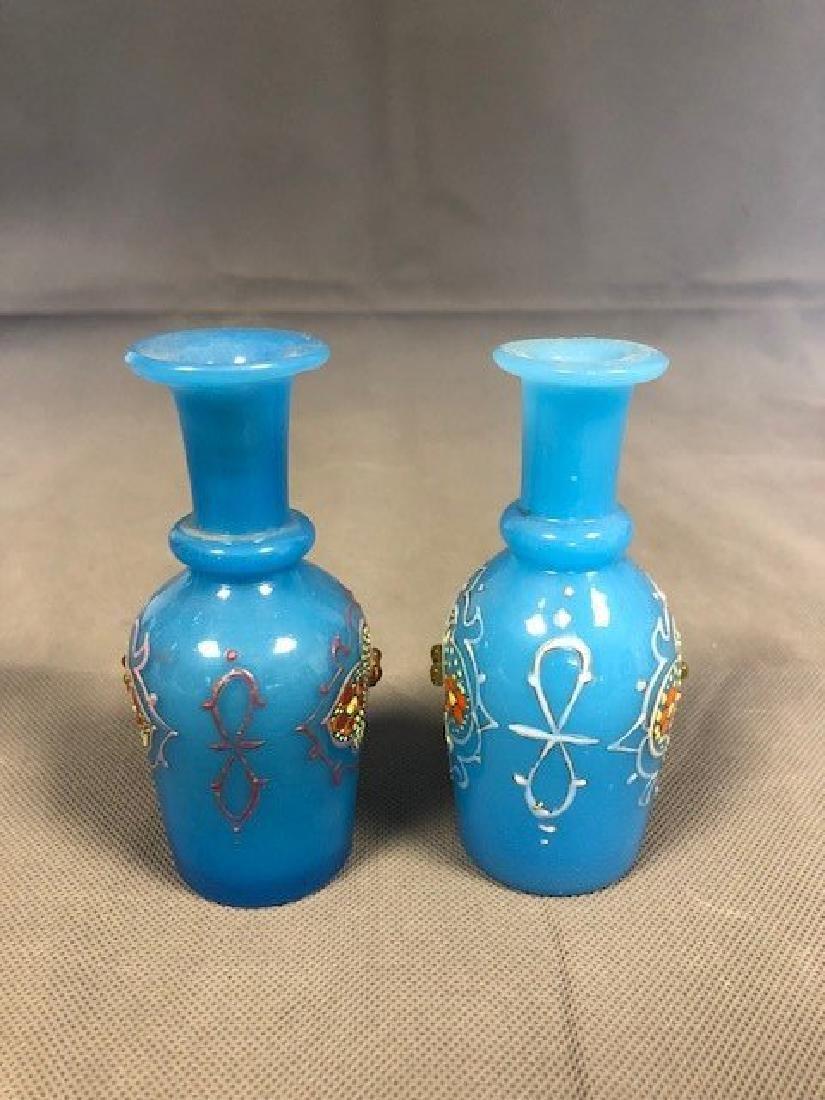 2 blue opaline bottles - 2