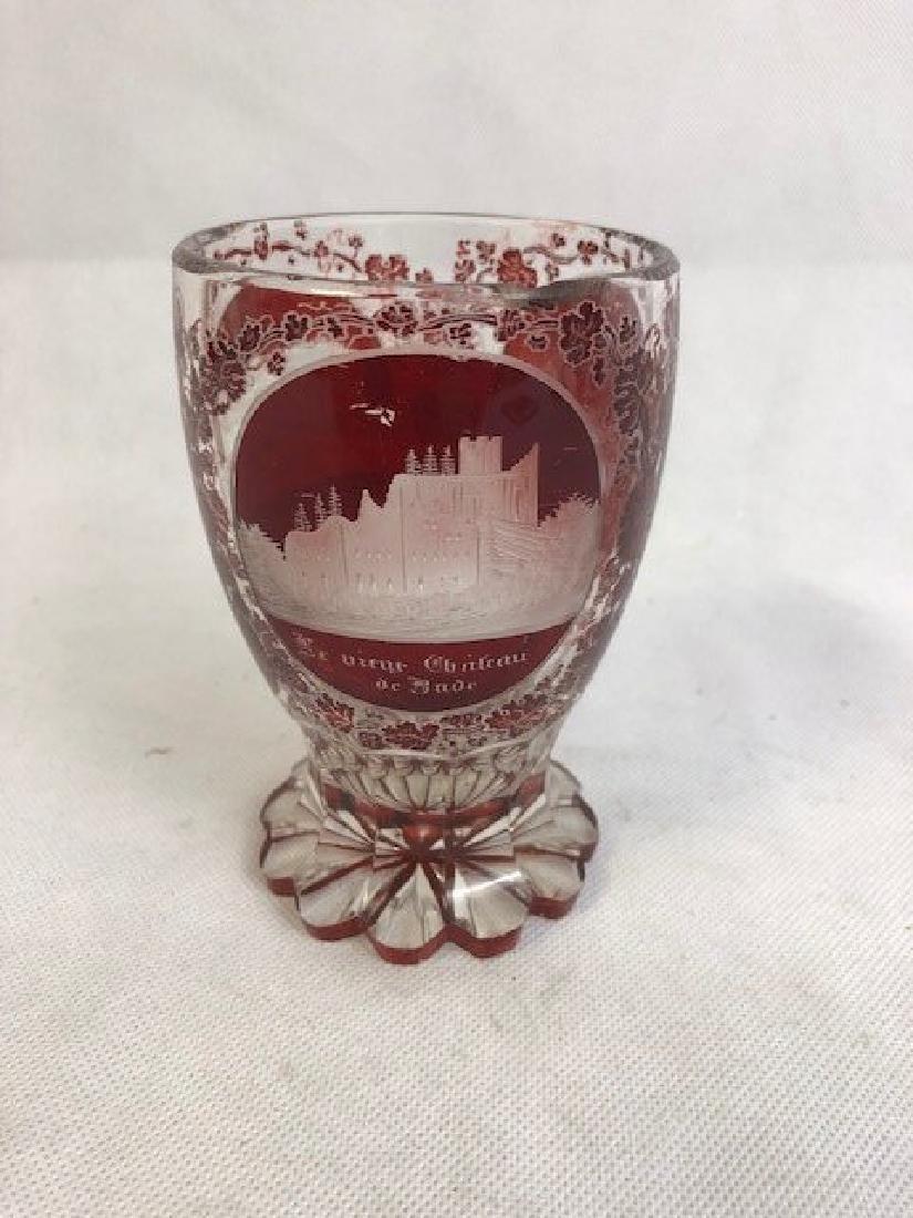 Beautiful Bohemian Ruby Engraved Beaker