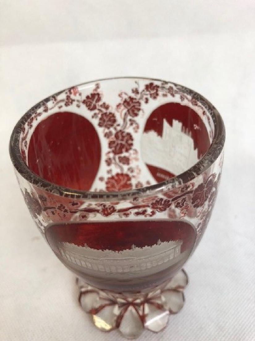 Beautiful Bohemian Ruby Engraved Beaker - 3