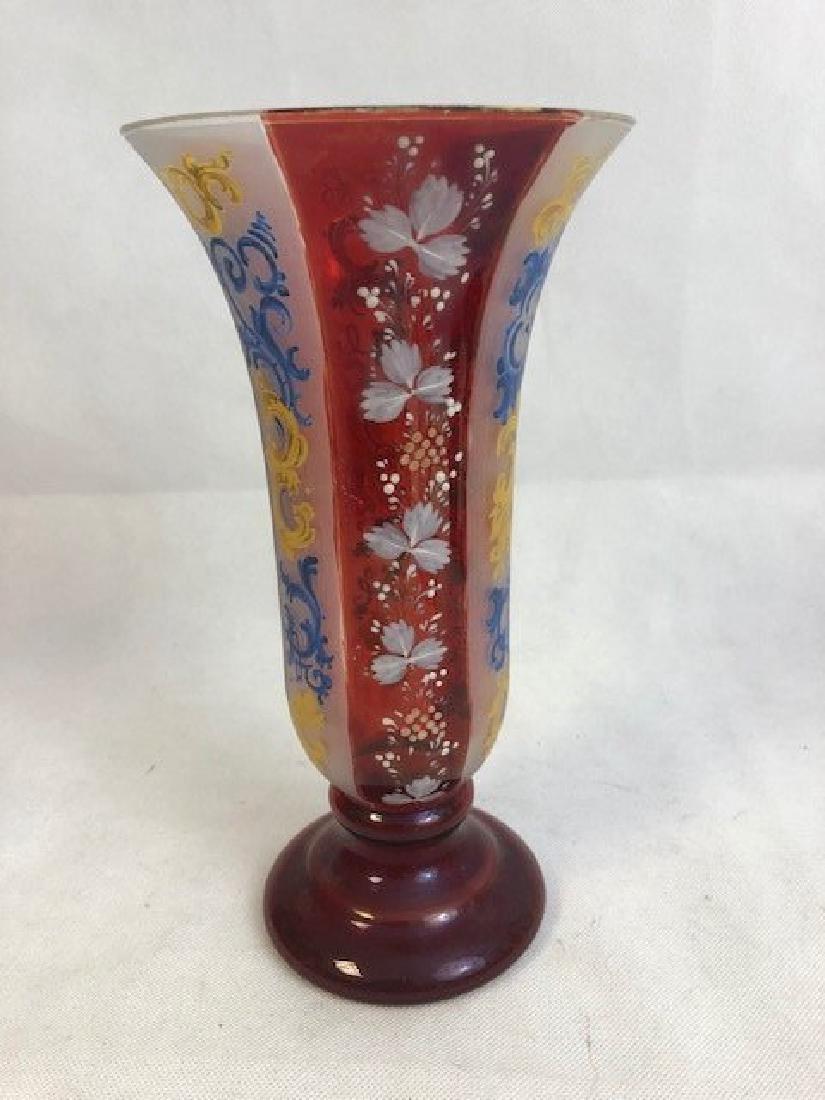 Bohemian Ruby Enamelled Vase - 2