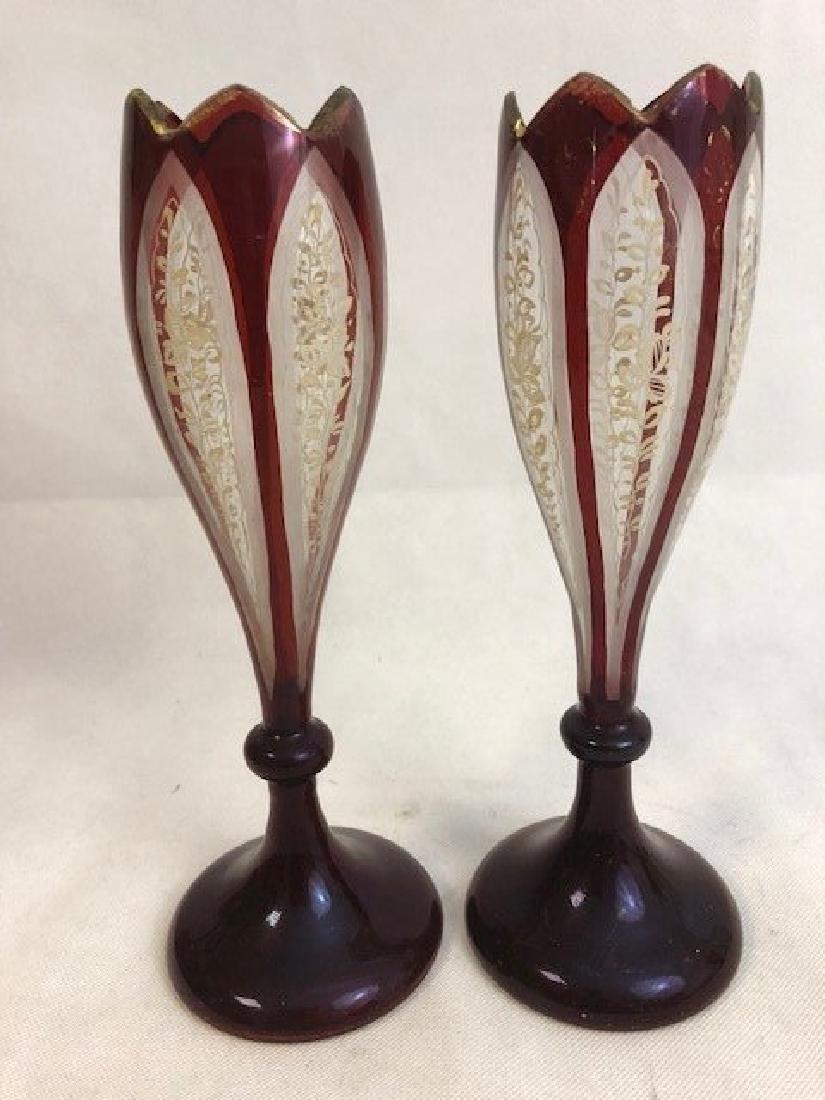 Pair Of Bohemian Ruby Vase
