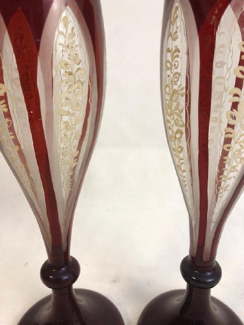 Pair Of Bohemian Ruby Vase - 2