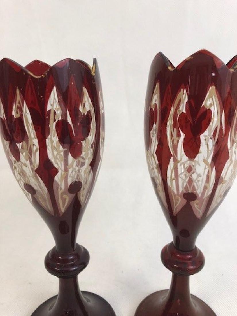 Pair of bohemian ruby vases - 2