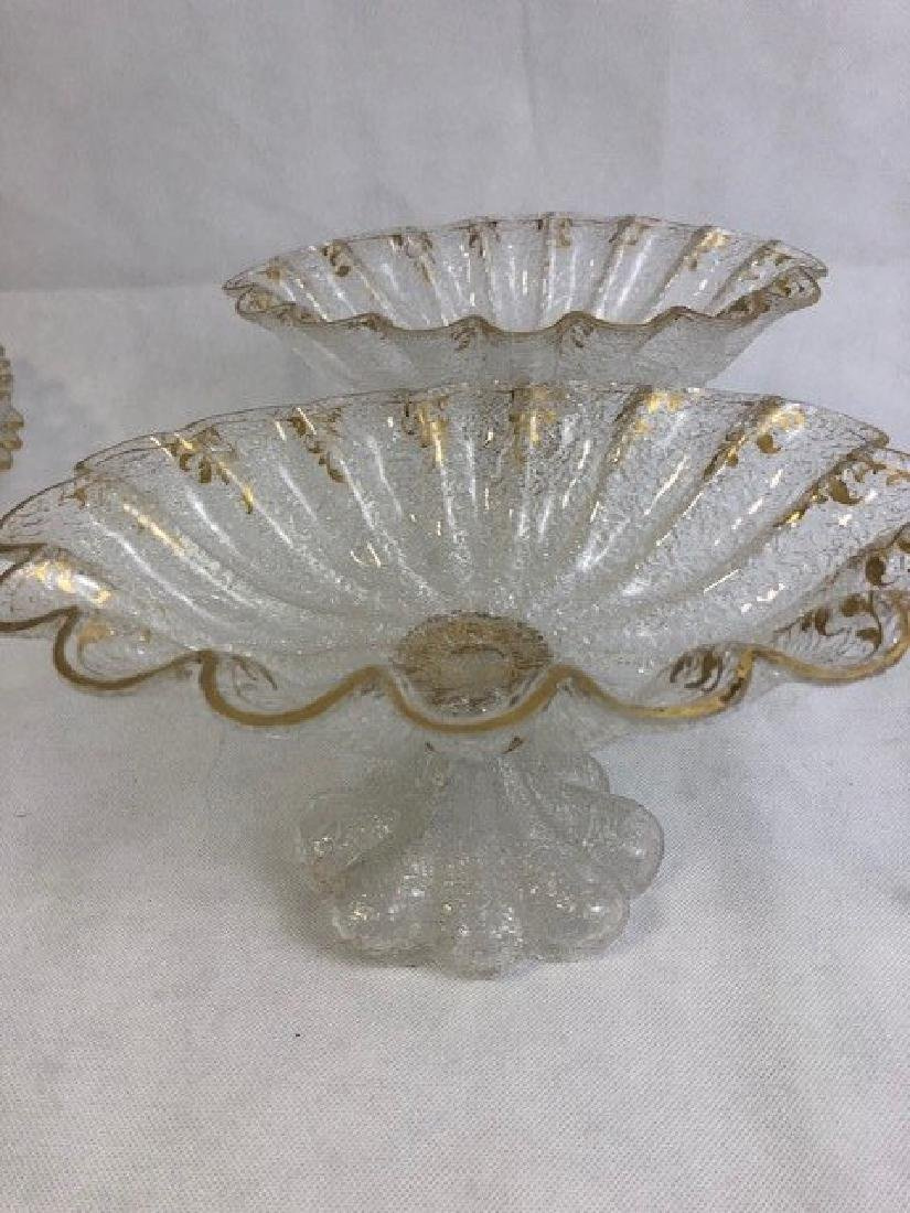 Pair of ice glass compote