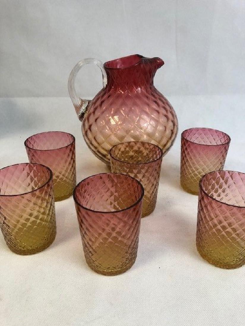 Jug and six glasses American Glass