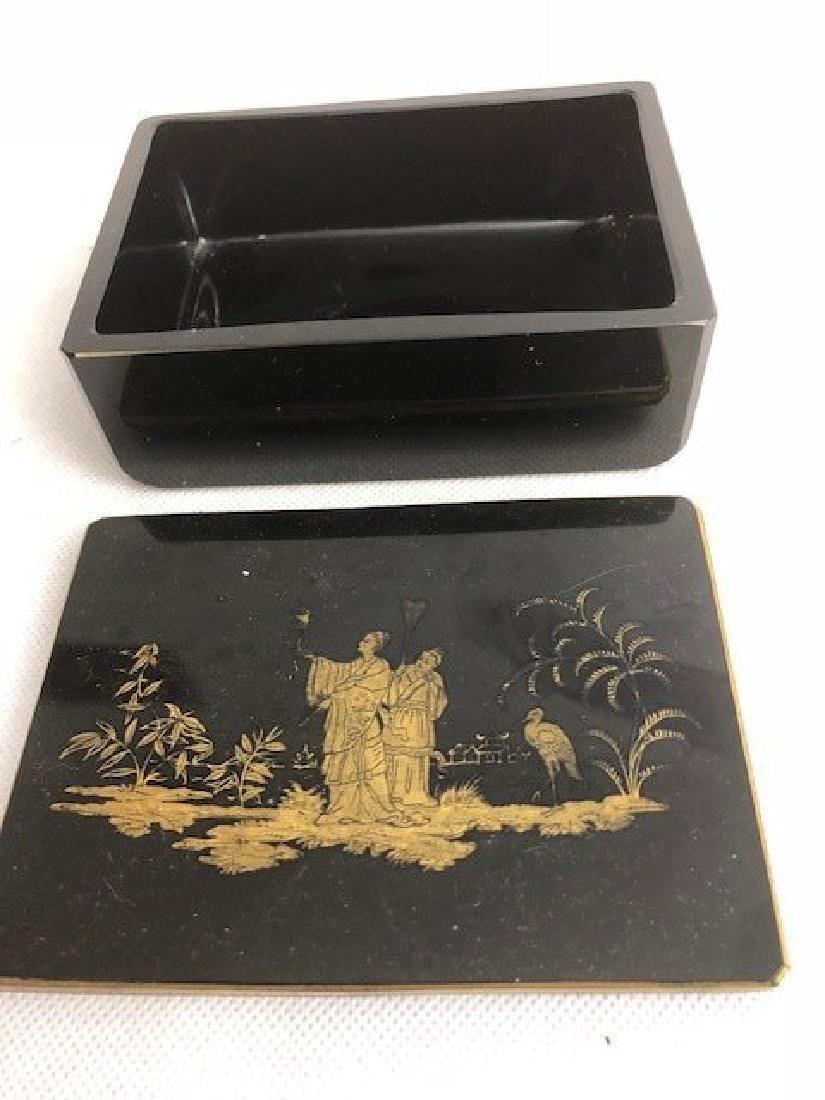 Bohemian glass black casket - 2