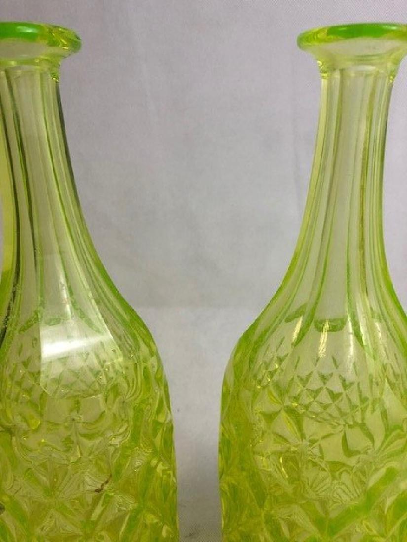 Pair of Uranium Vaseline Glass Bottle - 2