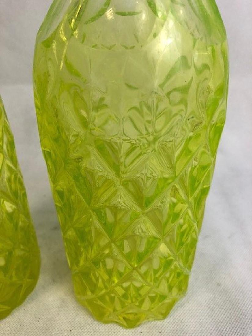 Pair of Uranium Vaseline Glass Bottle - 3