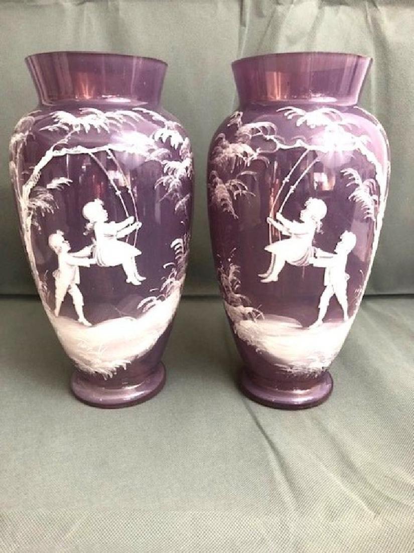 Pair Of Amethyst Vases