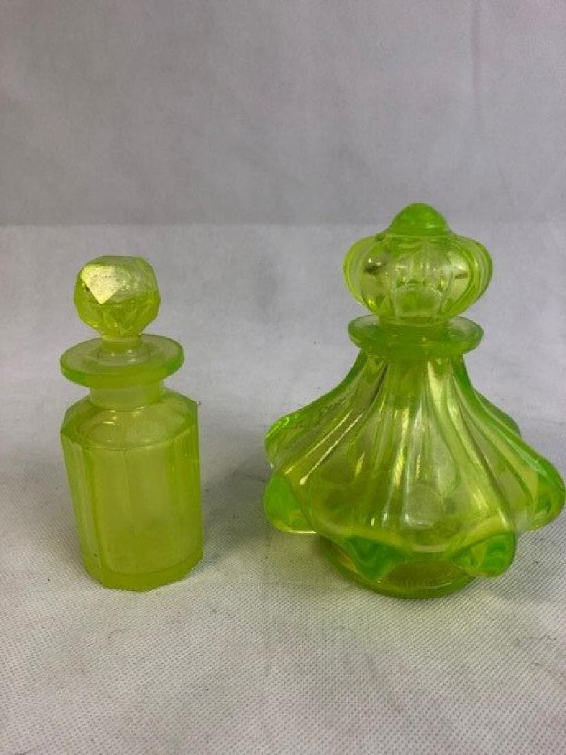 Two Uranium Vaseline Glass Bottles