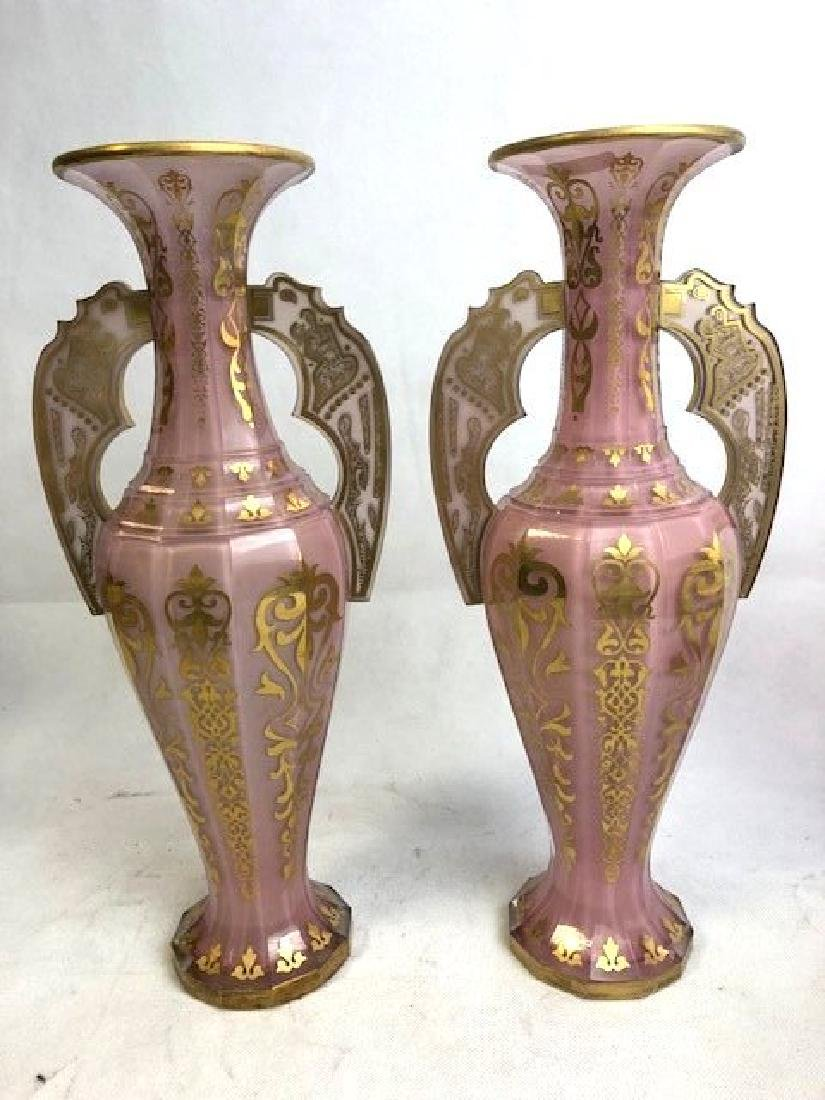 Magnificent Pair Of Pink Alhambra vases