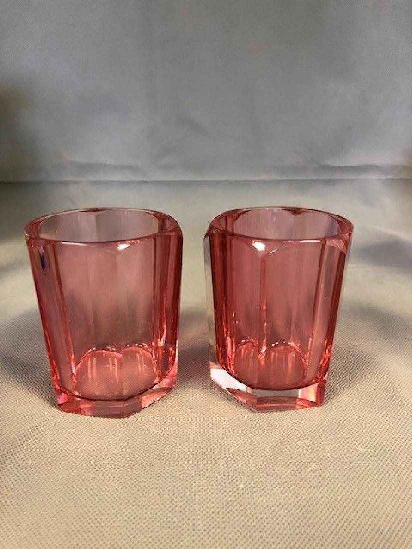 Pair bohemian cranberry beakers