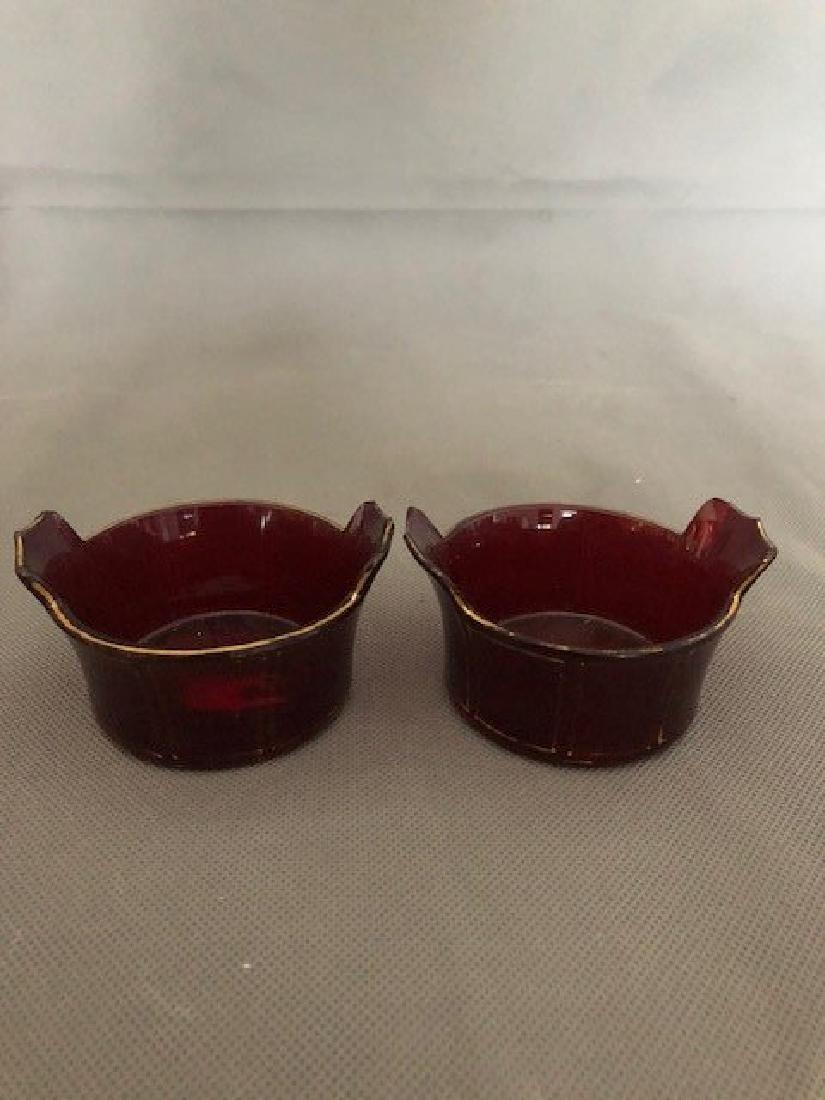 Pair ruby bohemian bowls
