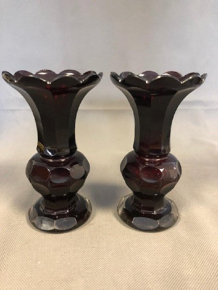 Pair ruby bohemian vases.