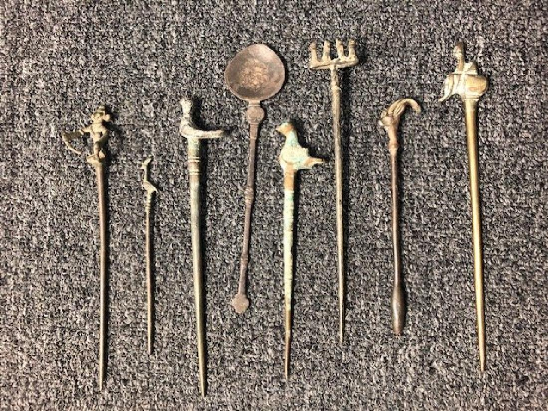 Collection Of 8 Ancient Hair Pins