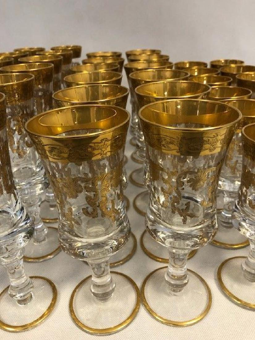 Collection of 36 french glasses with raised gliding - 2