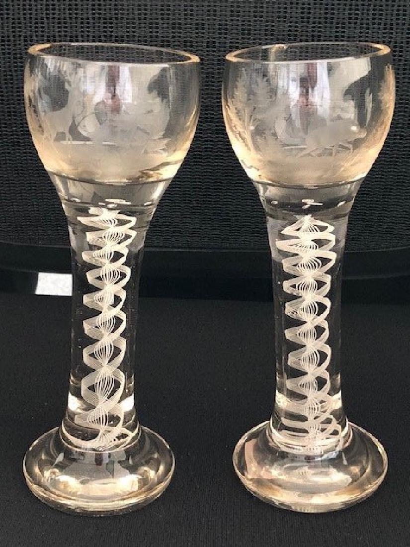 PAIR OF Bohemian Glass VASES ENGRAVED