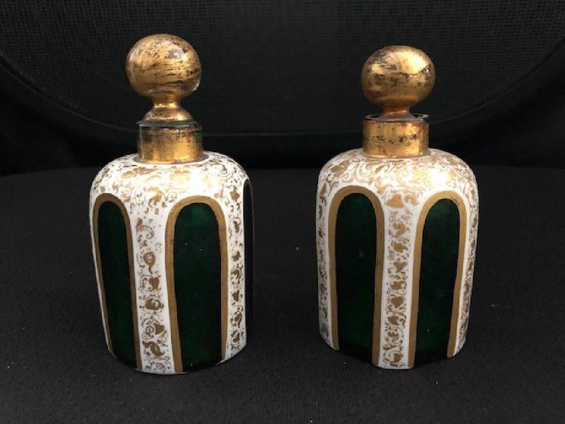 Pair Of Green Overlay Bohemian Perfume Bottles