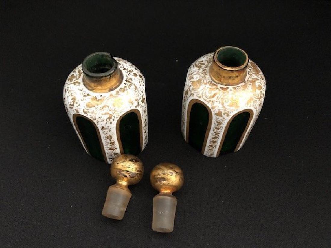 Pair Of Green Overlay Bohemian Perfume Bottles - 2
