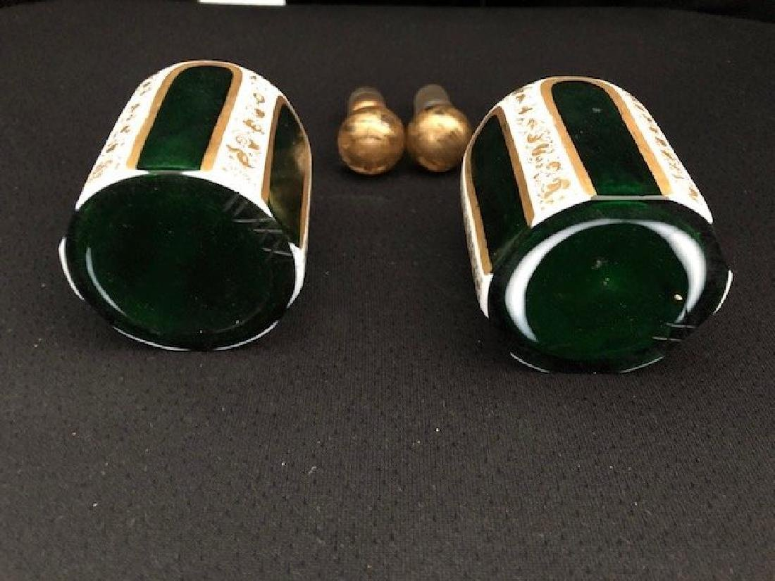 Pair Of Green Overlay Bohemian Perfume Bottles - 3