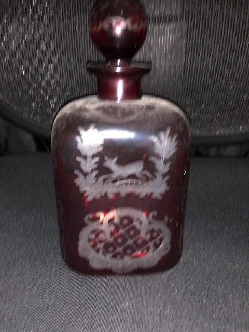 Bohemian Engraved Decanter Glass