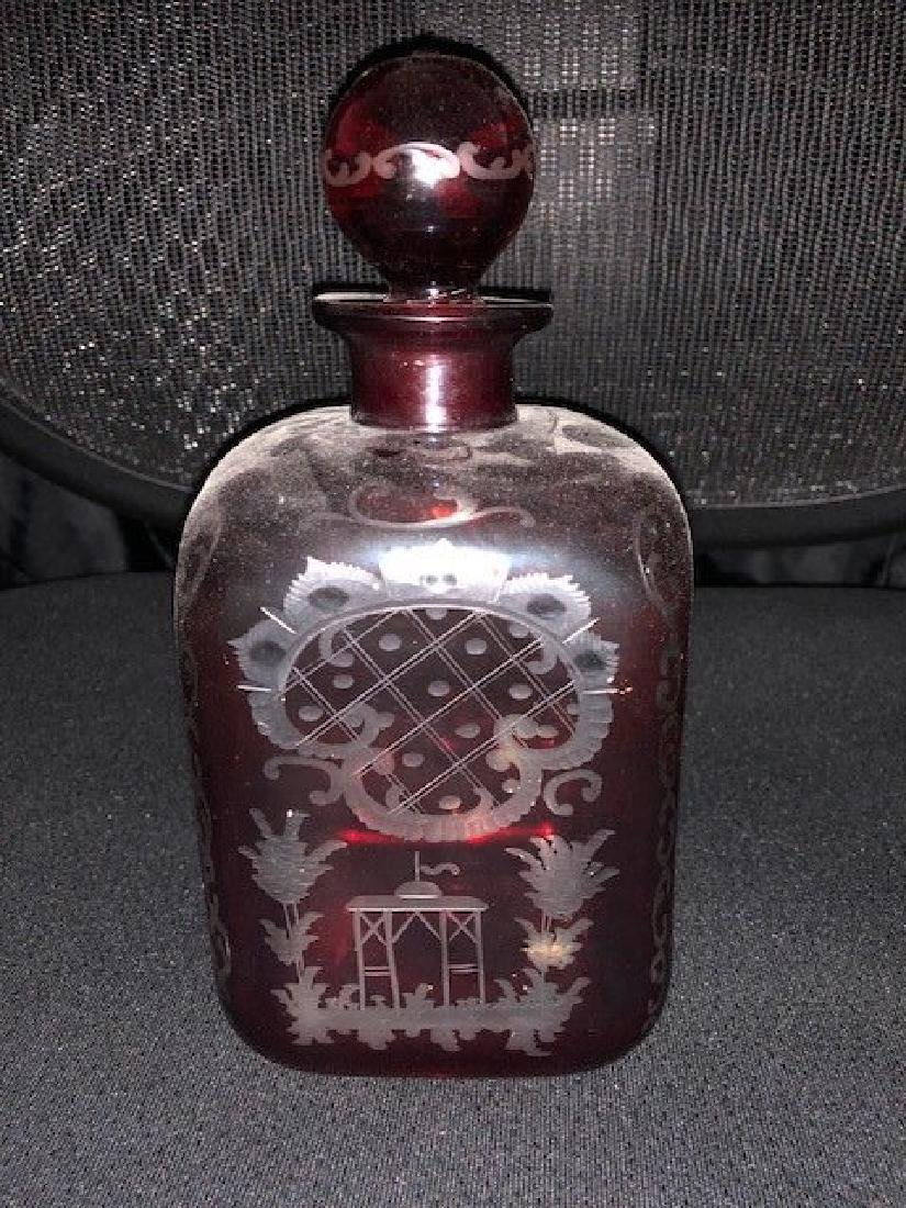 Bohemian Engraved Decanter Glass - 2