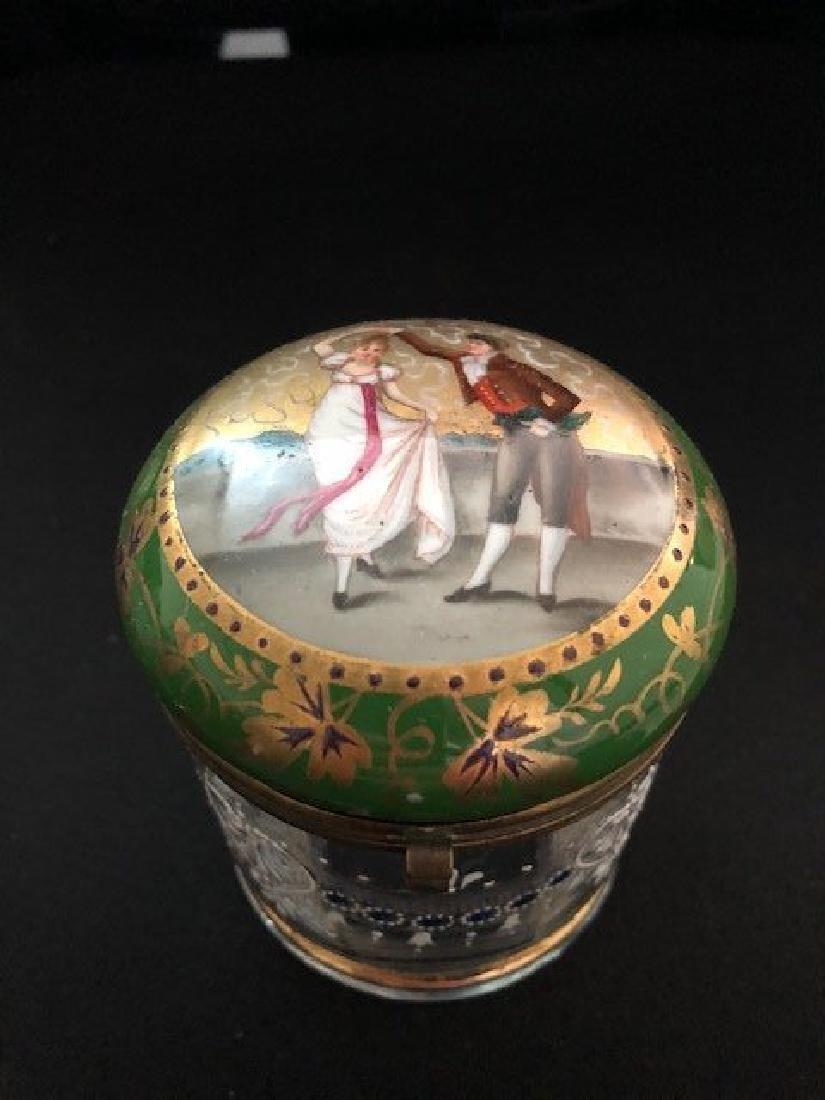 Bohemian Powder glass with Portrait Lid