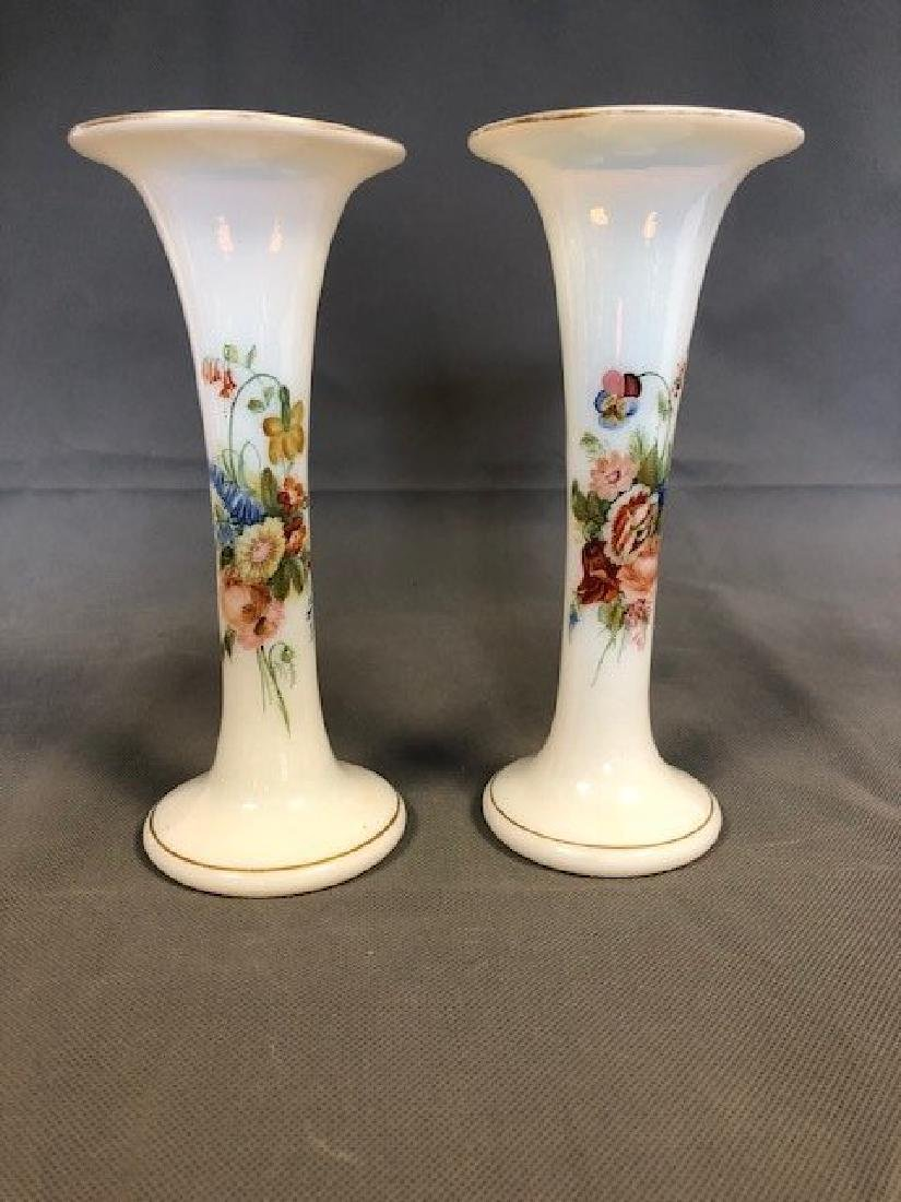 Nearly a pair of French opaline vases