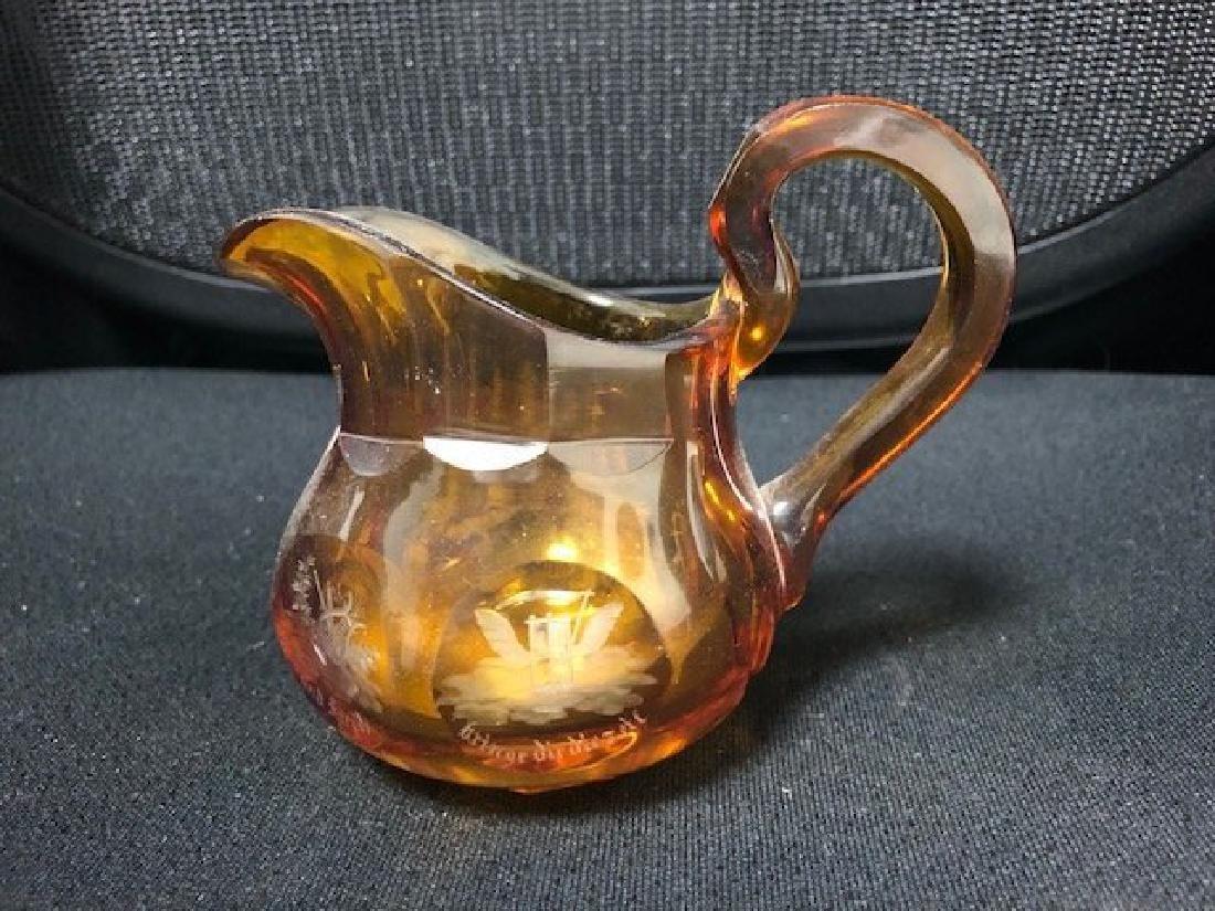 Bohemian Milk Glass Jar engraved