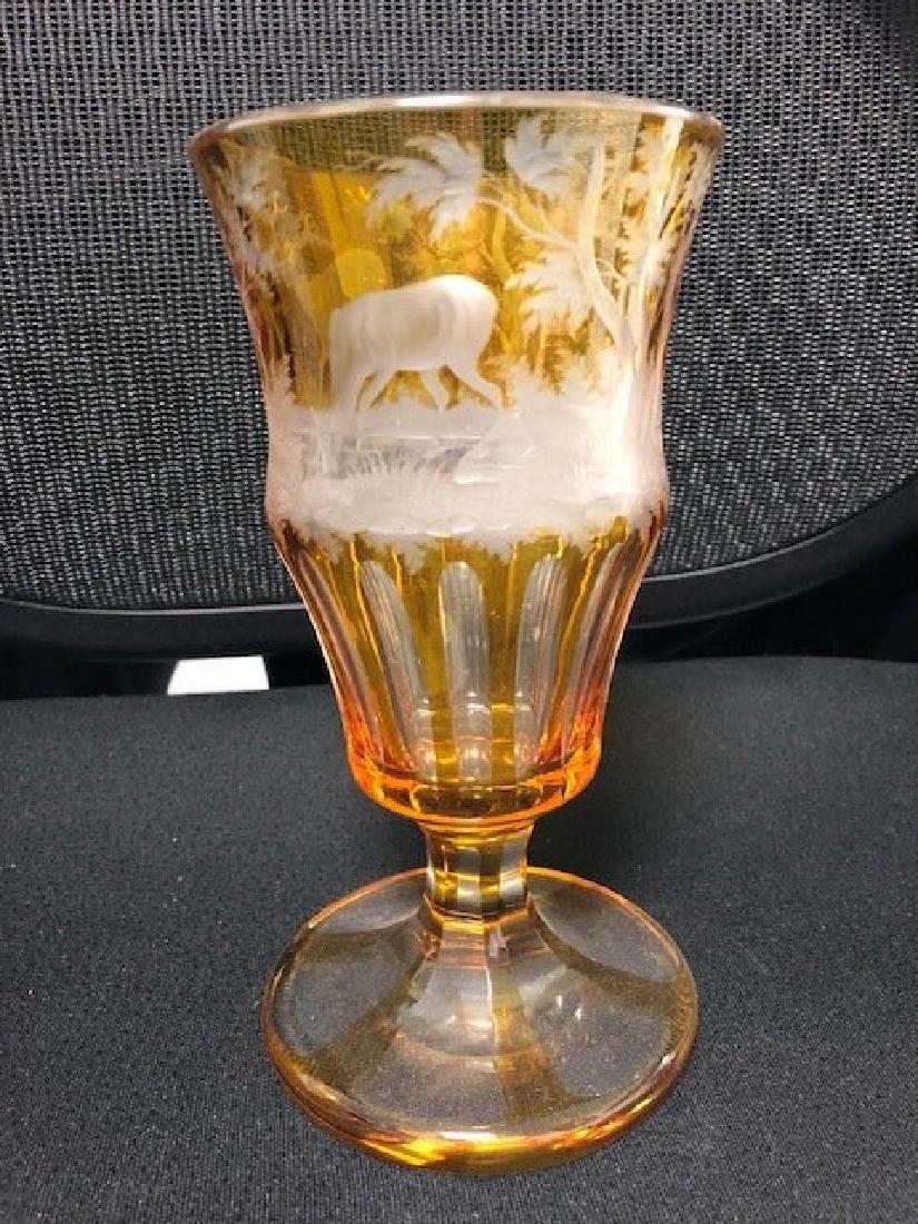 Bohemian Glass Engraved Beaker