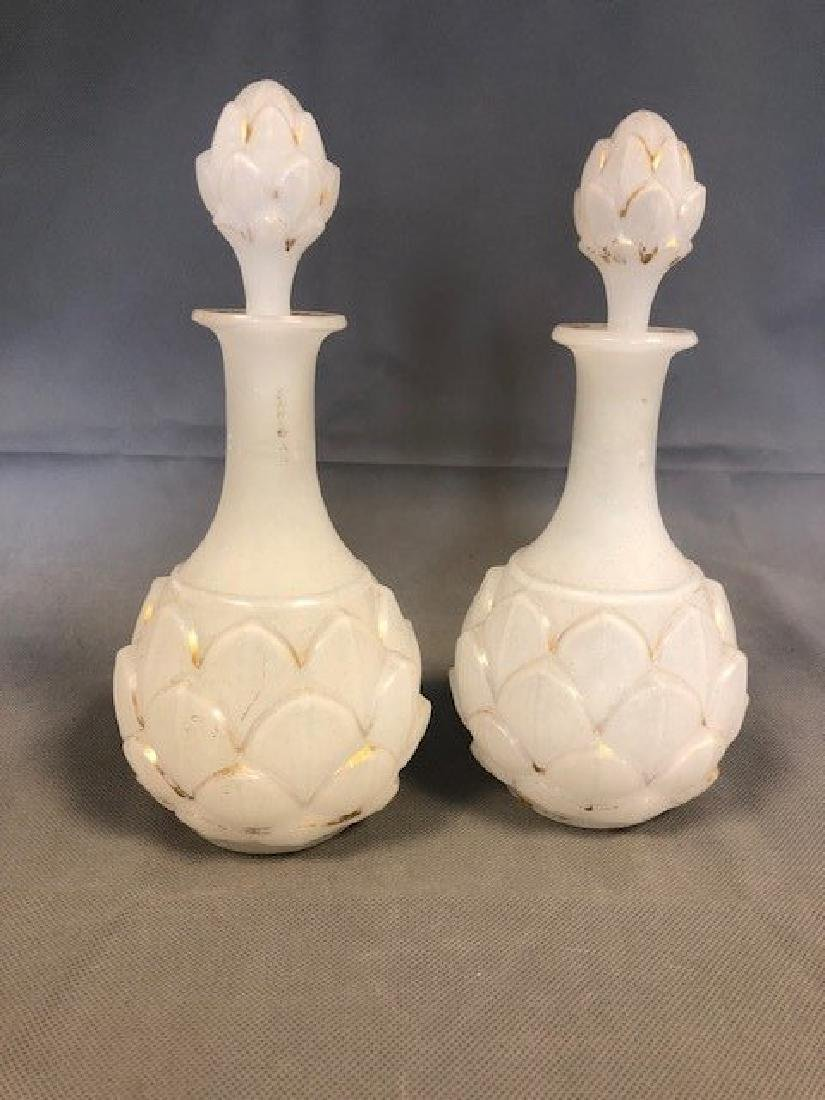 Pair opaline french bottles