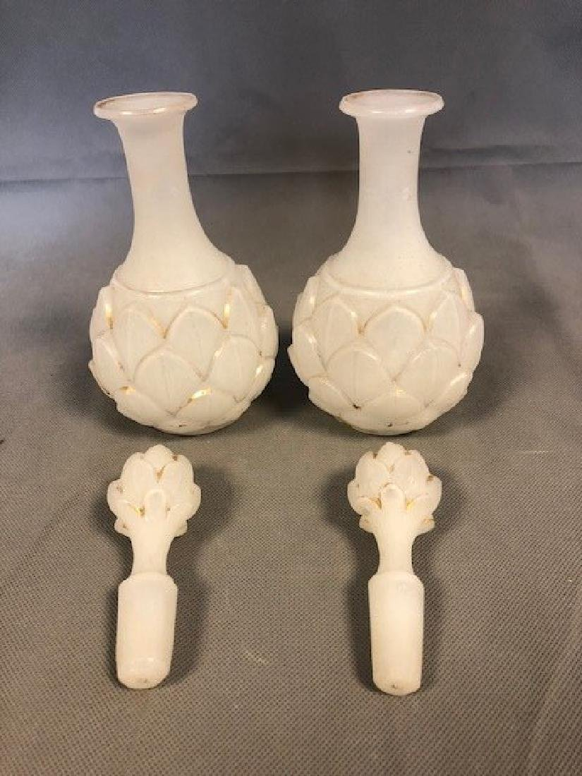 Pair opaline french bottles - 2