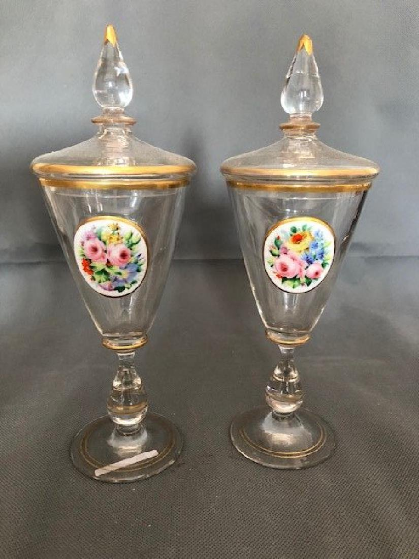 Pair bohemian goblet and covers