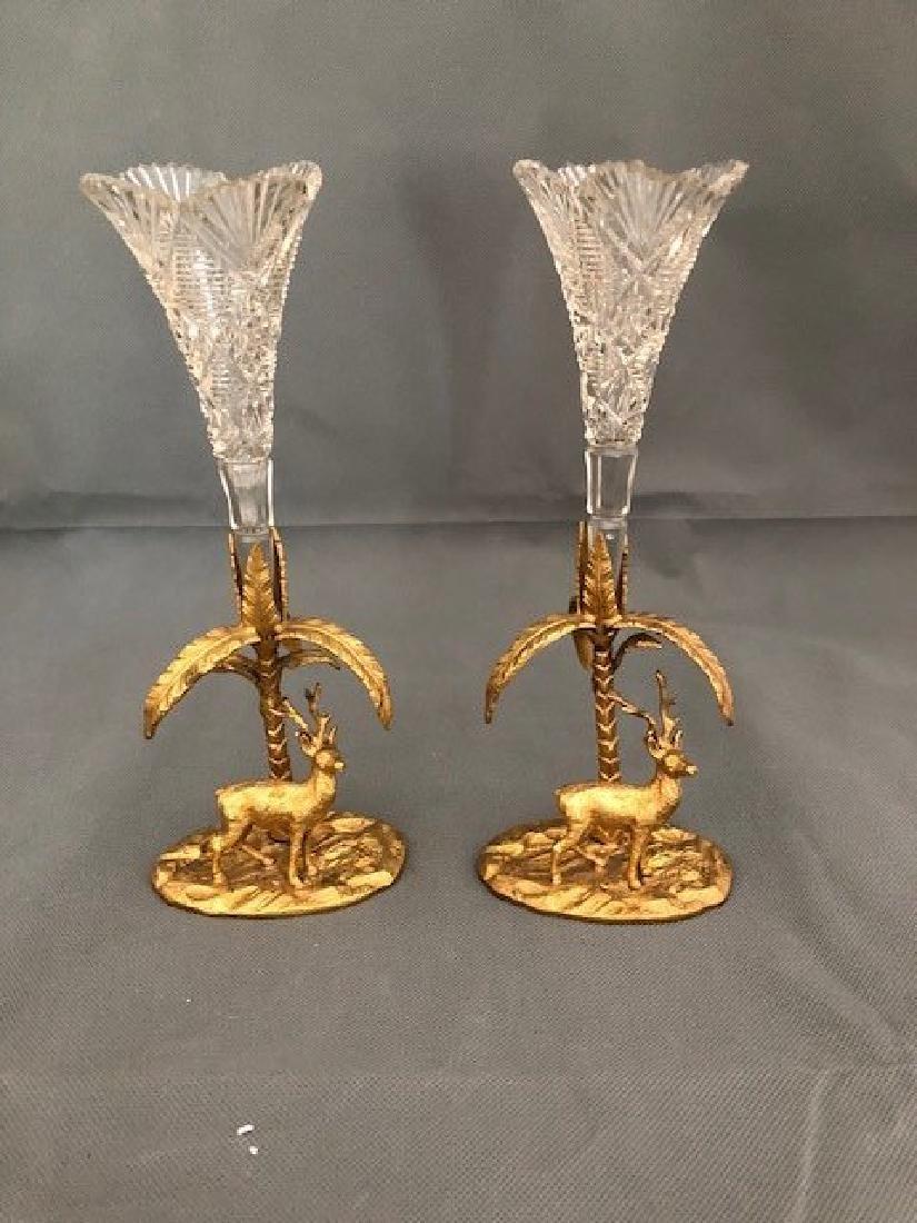 Pair decorative flower vases