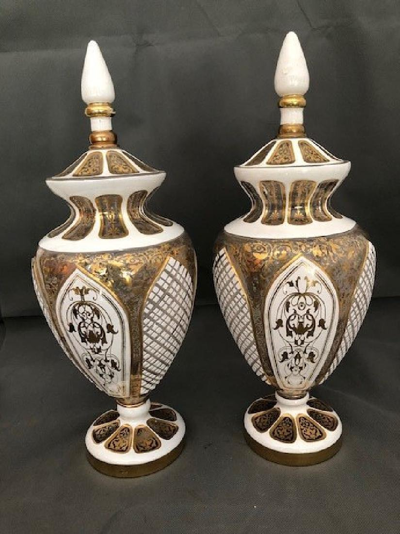 Pair white bohemian vases and covers