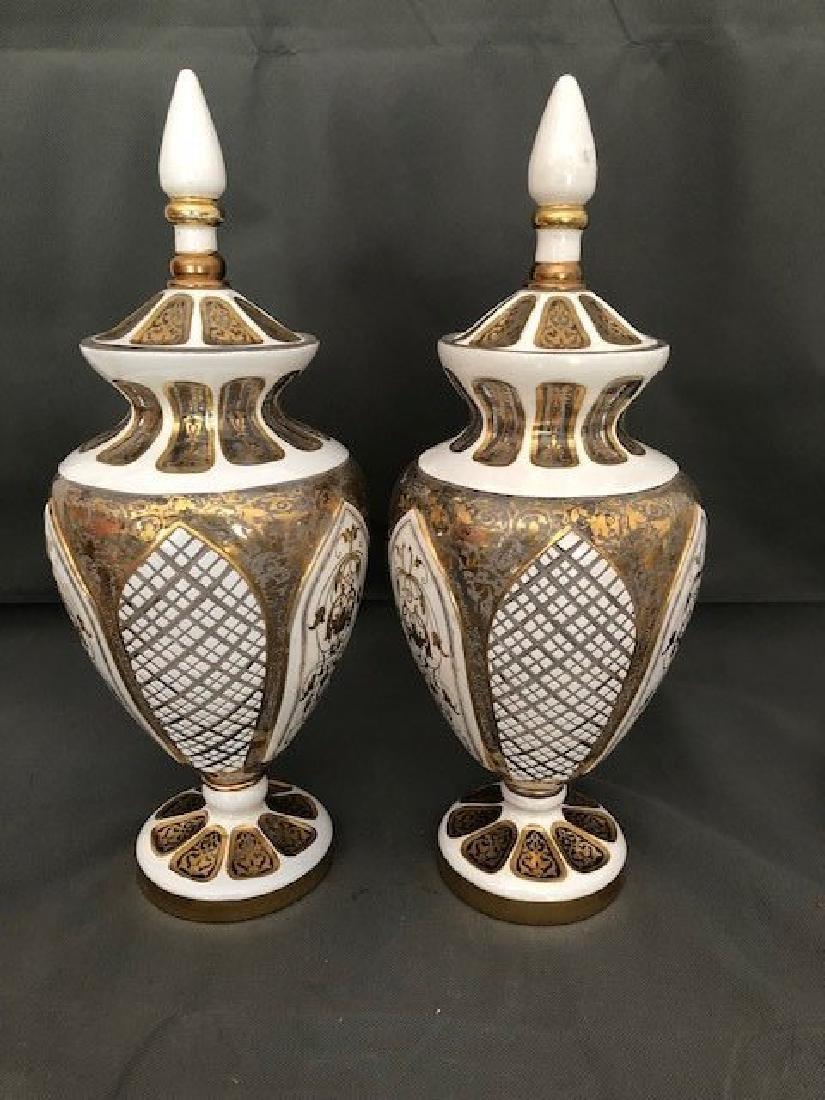 Pair white bohemian vases and covers - 2