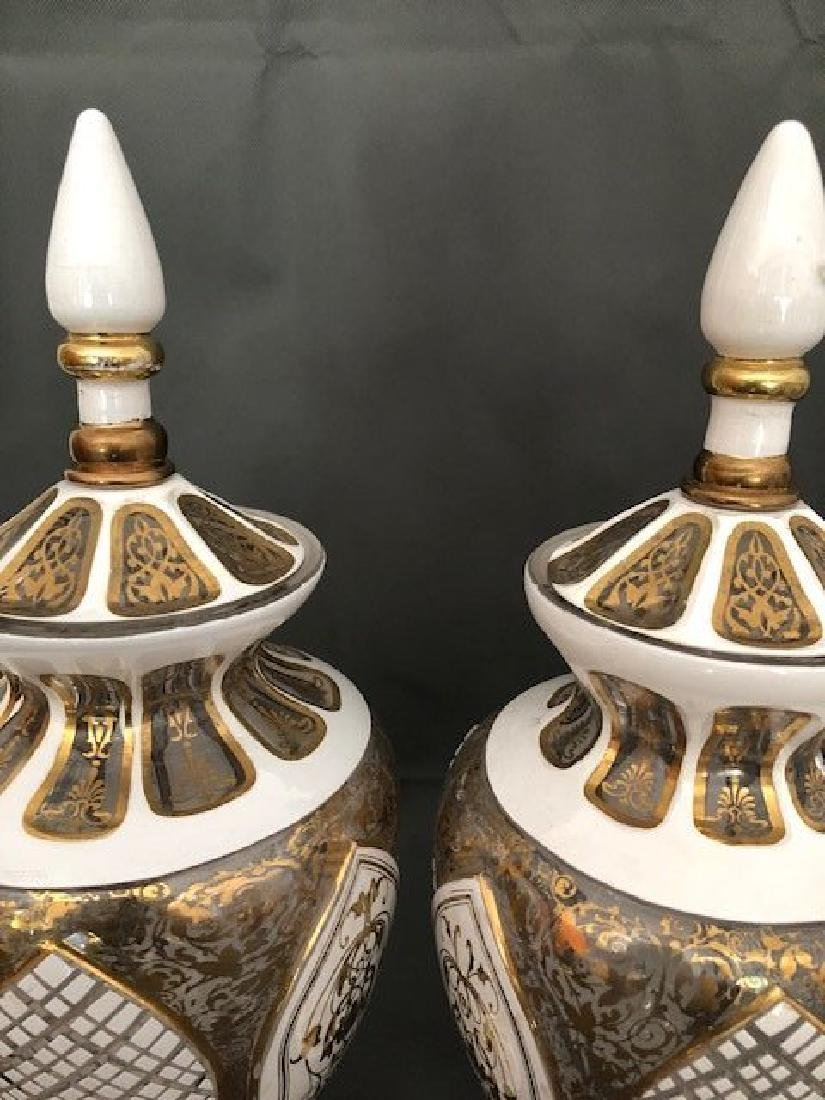 Pair white bohemian vases and covers - 4