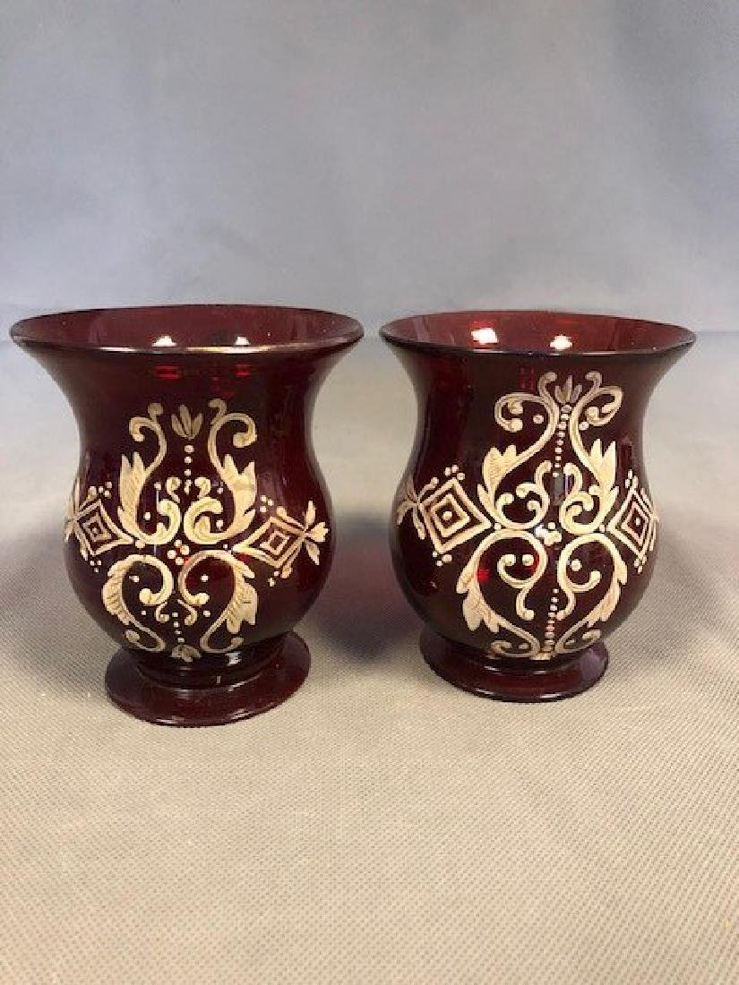 Pair ruby jugs