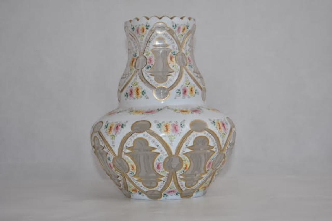 bohemian white overlay vase 19 cm