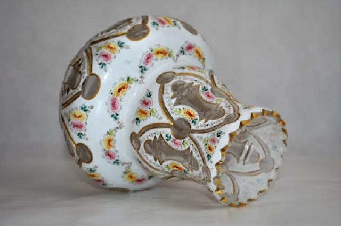 bohemian white overlay vase 19 cm - 2