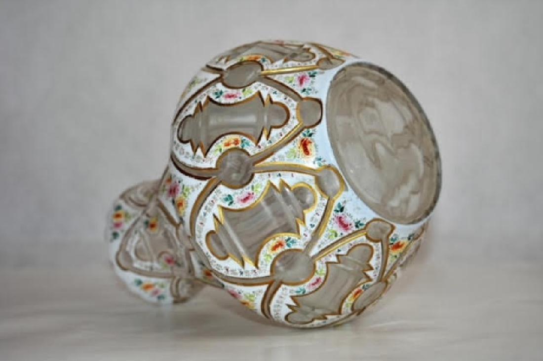 bohemian white overlay vase 19 cm - 3
